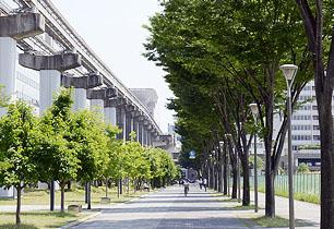 立川エリアの遊歩道